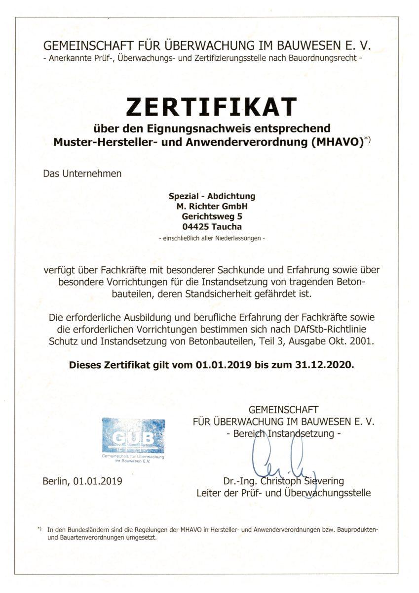 GÜB Zertifikat Fachkunde
