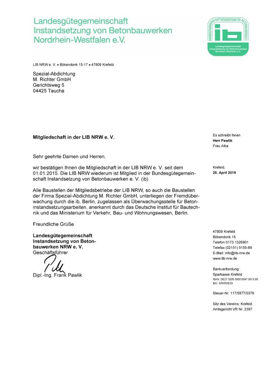 Lib NRW Landesgütegemeinschaft Nachweis Mitglied