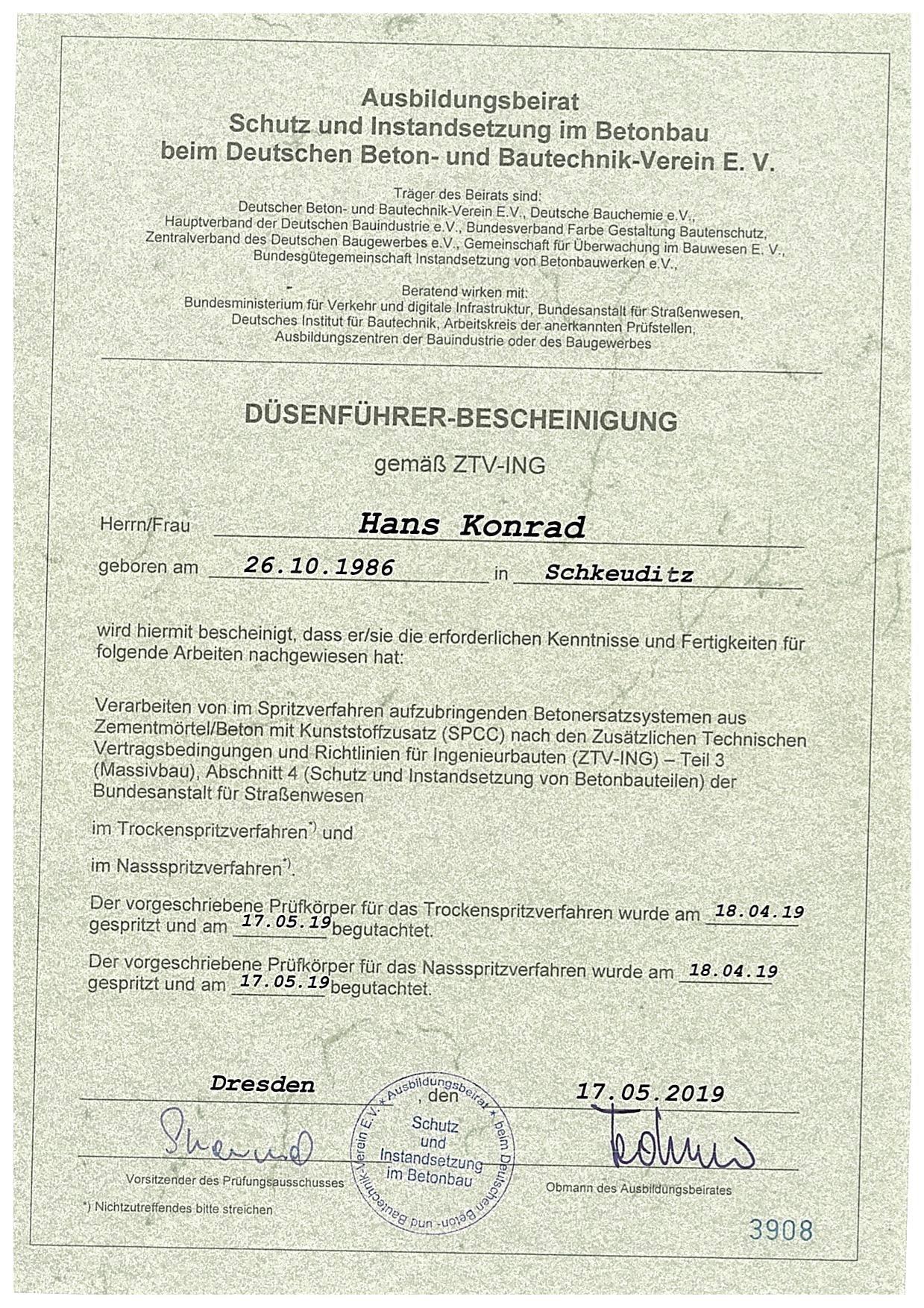 Düsenführer Bescheinigung Hans Konrad