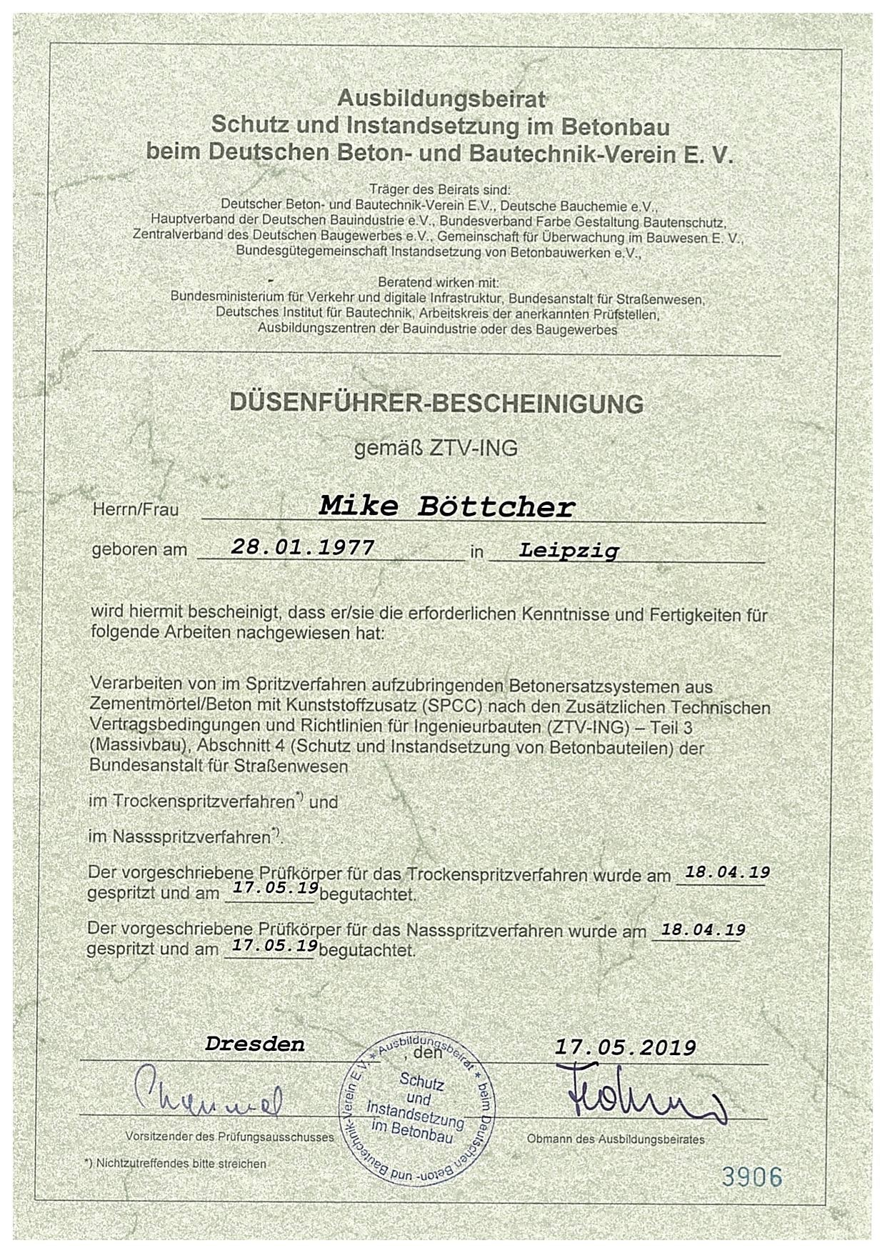 Düsenführer Bescheinigung Mike Böttcher
