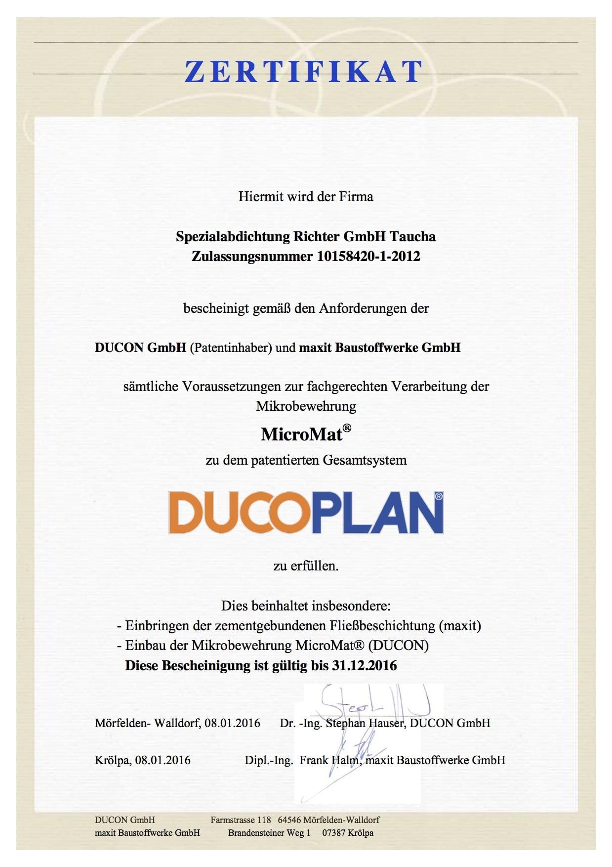 Zertifikat - DUCOPLAN 2016- SA Richter
