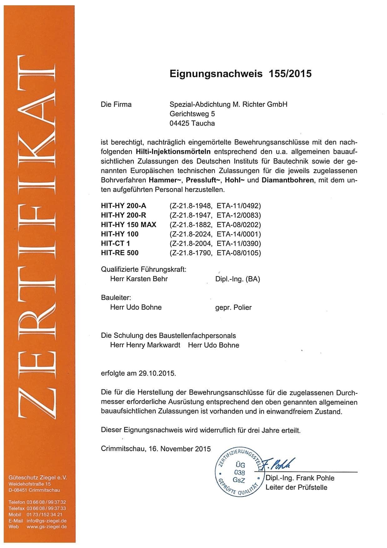 Zertifikat Eignungsnachweis 1552015 Hilti für Udo Bohne